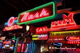 Neon signage at Spomer Classics